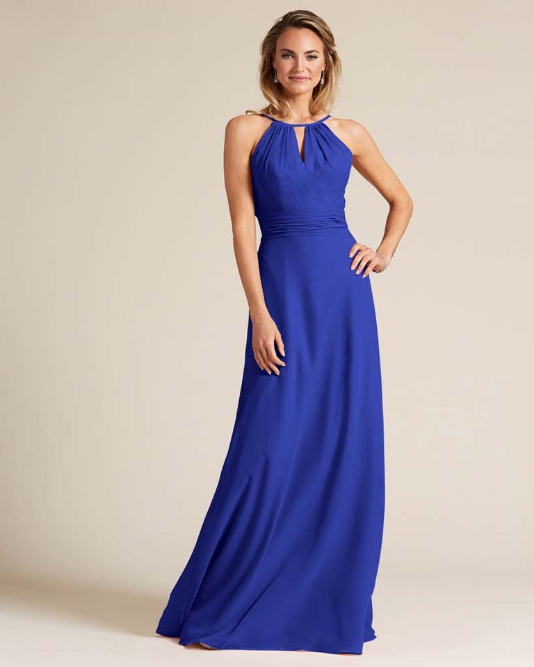 Royal Blue Cut Out Back Long Dress