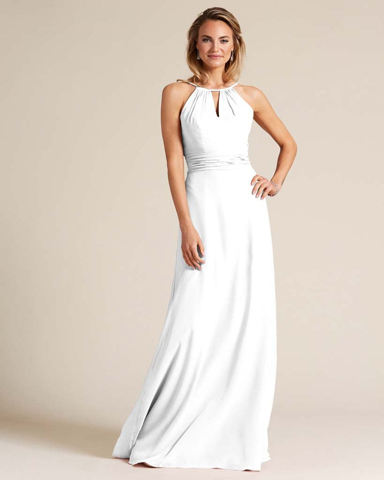 White Cut Out Back Long Dress