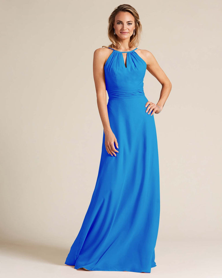 Ocean Blue Cut Out Back Long Dress