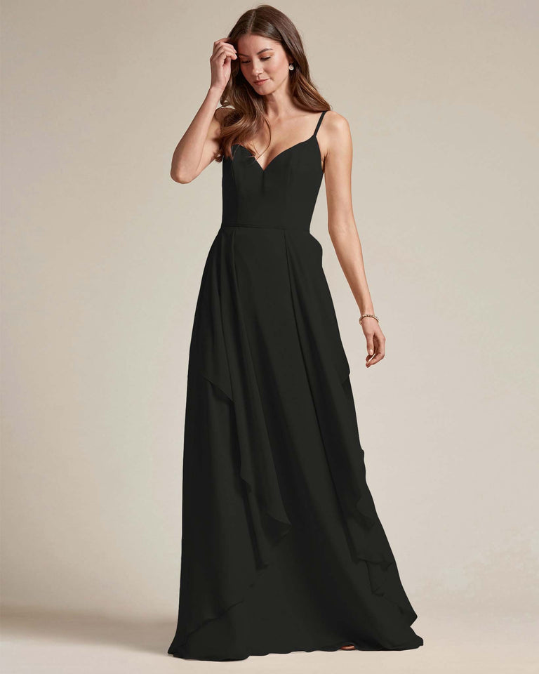 Black Plunging V Neck Top With Layered Skirt Bridesmaid Dress