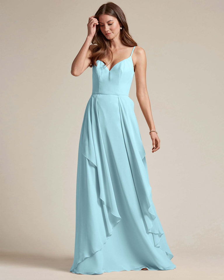 Blue Glow Plunging V Neck Top With Layered Skirt Bridesmaid Dress