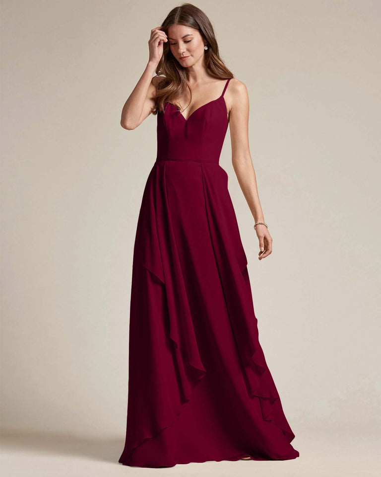 Burgundy Plunging V Neck Top With Layered Skirt Bridesmaid Dress