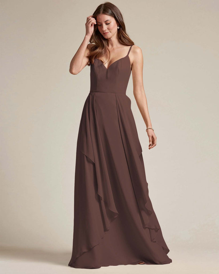 Chocolate Plunging V Neck Top With Layered Skirt Bridesmaid Dress