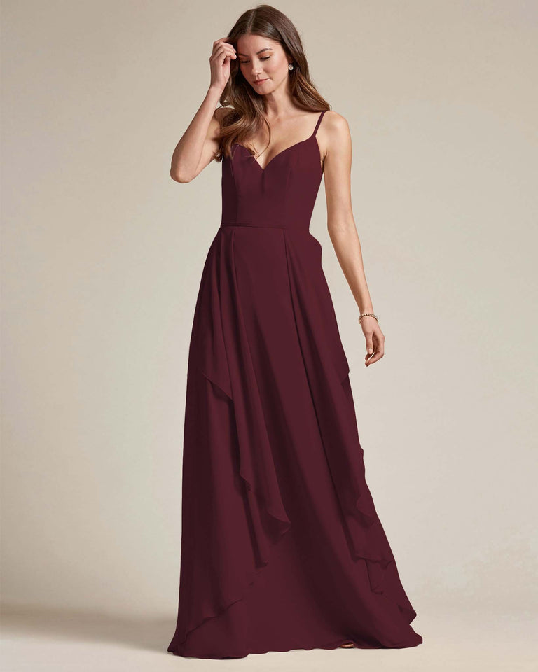 Claret Plunging V Neck Top With Layered Skirt Bridesmaid Dress