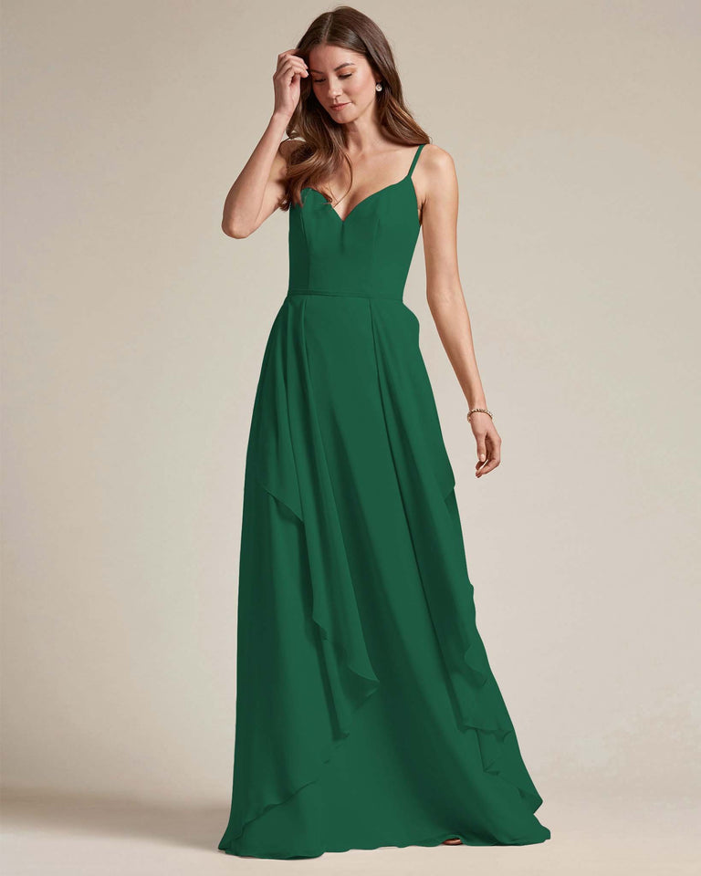 Dark Green Plunging V Neck Top With Layered Skirt Bridesmaid Dress