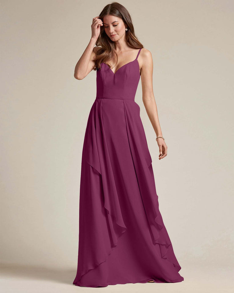 Grape Plunging V Neck Top With Layered Skirt Bridesmaid Dress