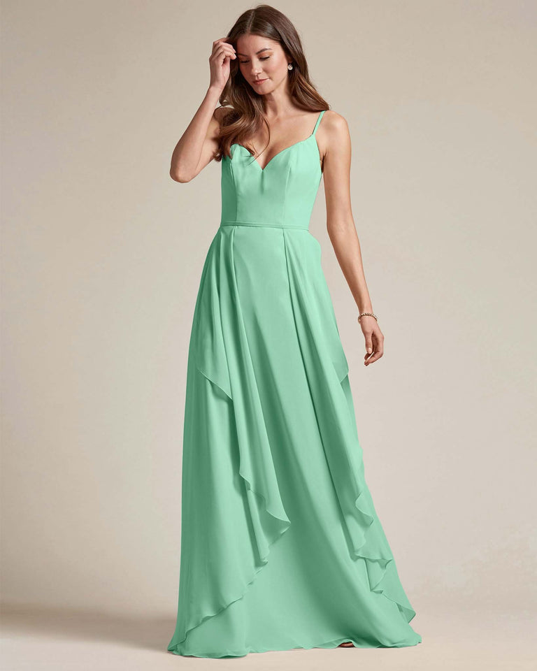 Mint Green Plunging V Neck Top With Layered Skirt Bridesmaid Dress