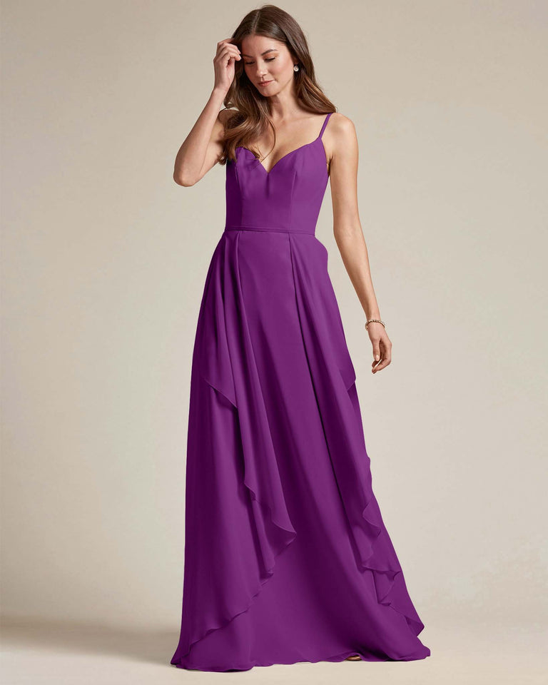 Passion Plunging V Neck Top With Layered Skirt Bridesmaid Dress