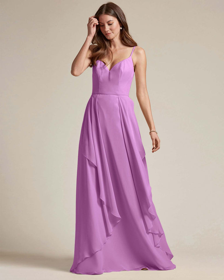 Purple Plunging V Neck Top With Layered Skirt Bridesmaid Dress