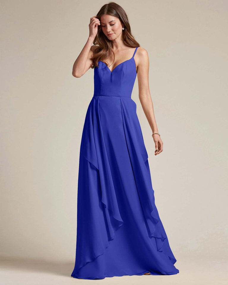 Royal Blue Plunging V Neck Top With Layered Skirt Bridesmaid Dress