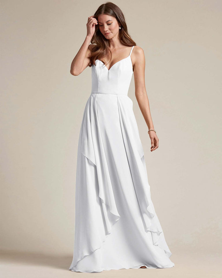 White Plunging V Neck Top With Layered Skirt Bridesmaid Dress