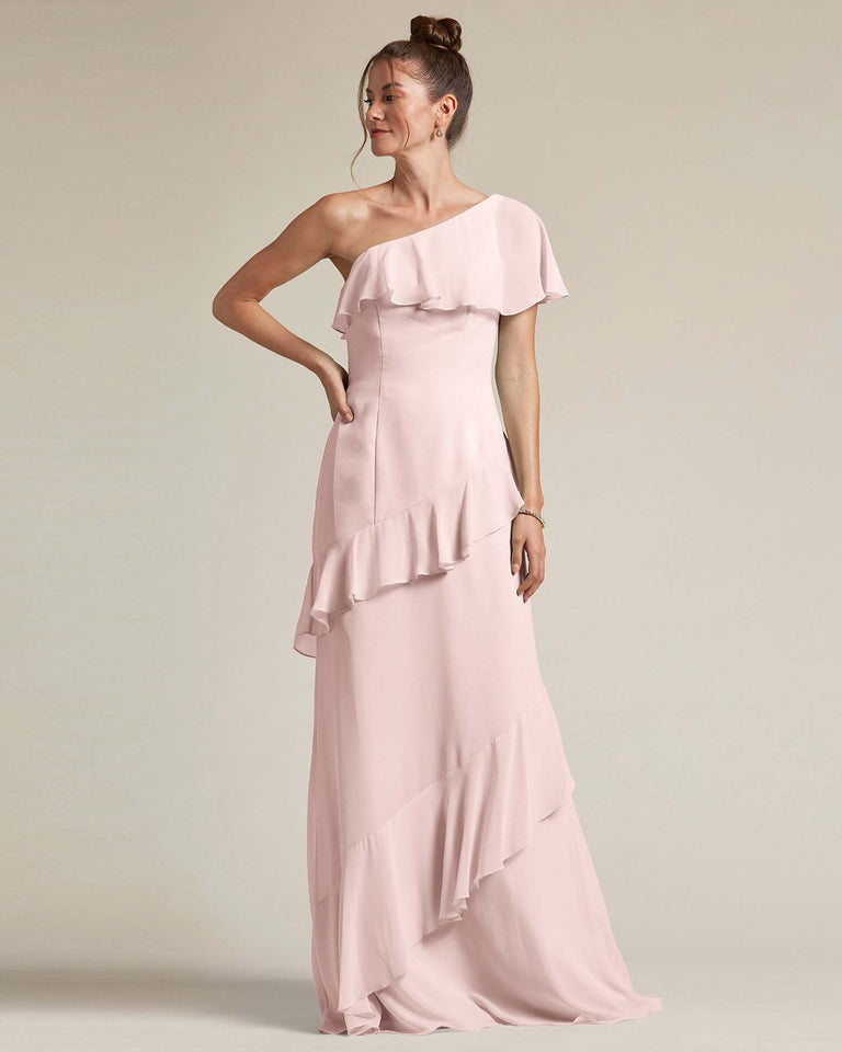 Blushing Pink Asymmetrical Flounder Top With A Multi-Layered Skirt Formal Gown