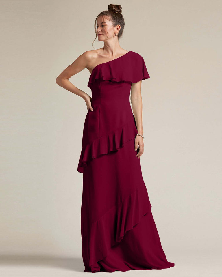 Burgundy Asymmetrical Flounder Top With A Multi-Layered Skirt Formal Gown