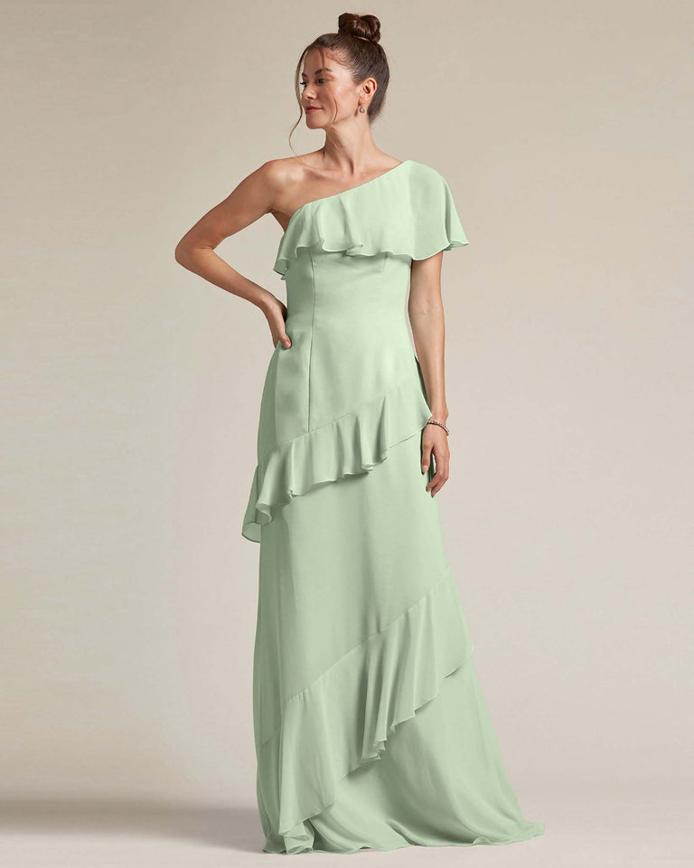 Celadon Asymmetrical Flounder Top With A Multi-Layered Skirt Formal Gown