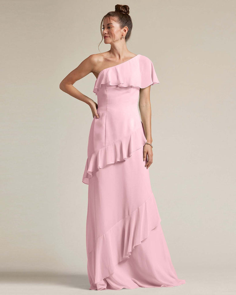 Cherry Blossom Asymmetrical Flounder Top With A Multi-Layered Skirt Formal Gown