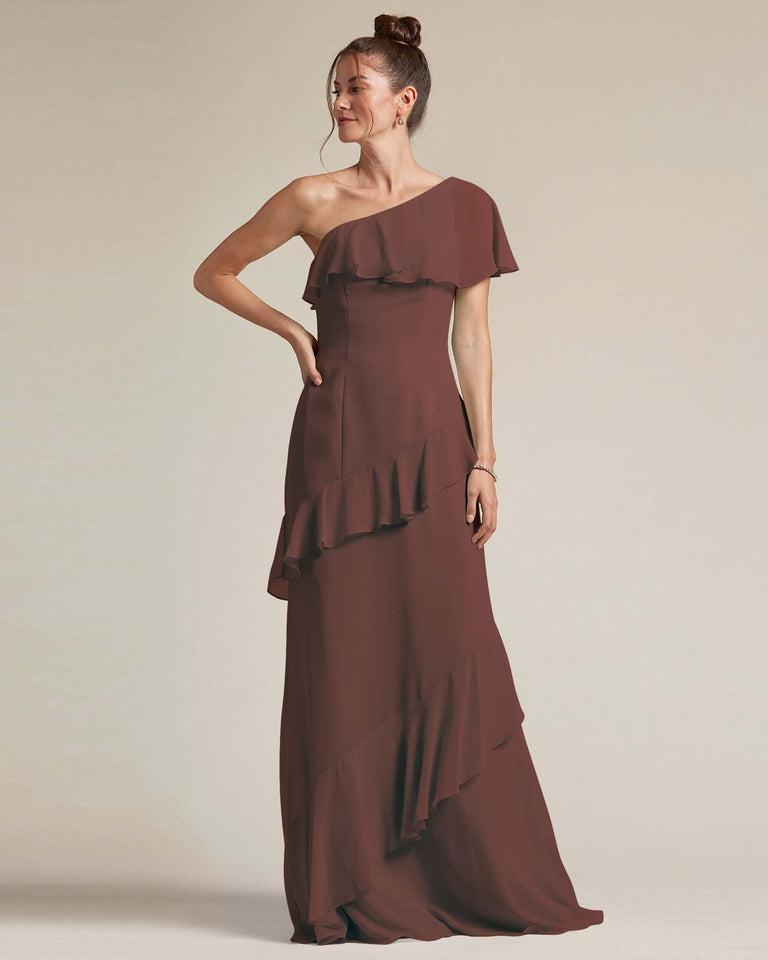 Chocolate Asymmetrical Flounder Top With A Multi-Layered Skirt Formal Gown