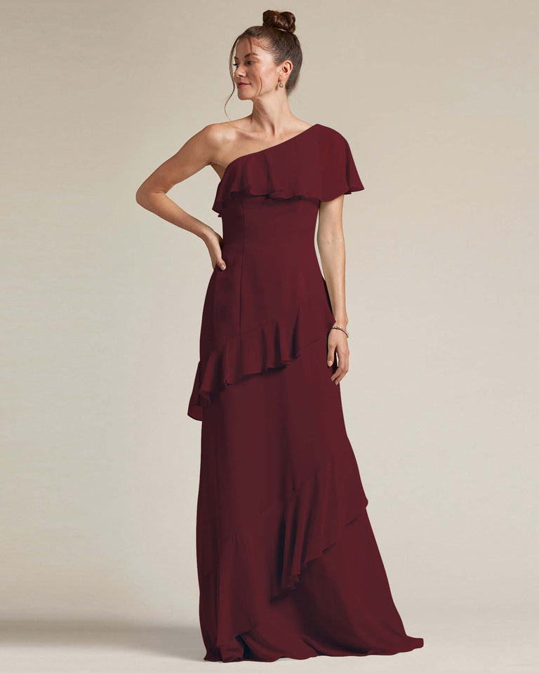 Claret Asymmetrical Flounder Top With A Multi-Layered Skirt Formal Gown