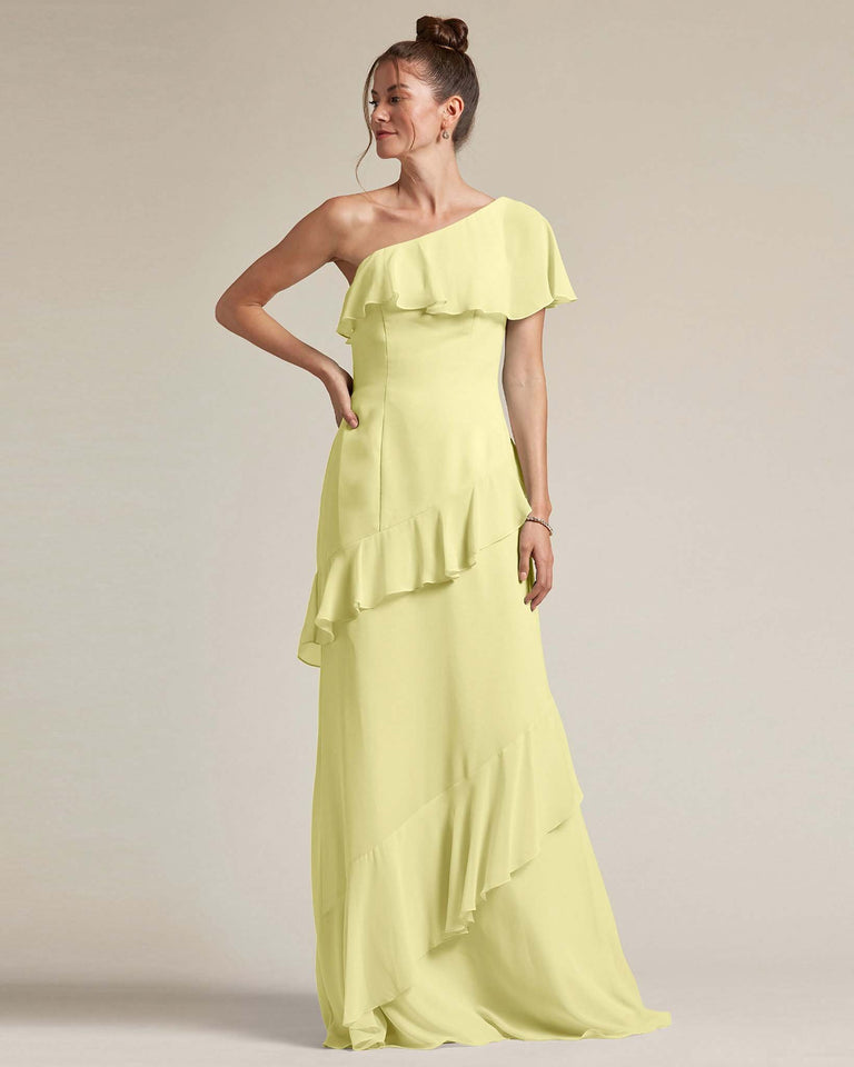 Daffodil Asymmetrical Flounder Top With A Multi-Layered Skirt Formal Gown