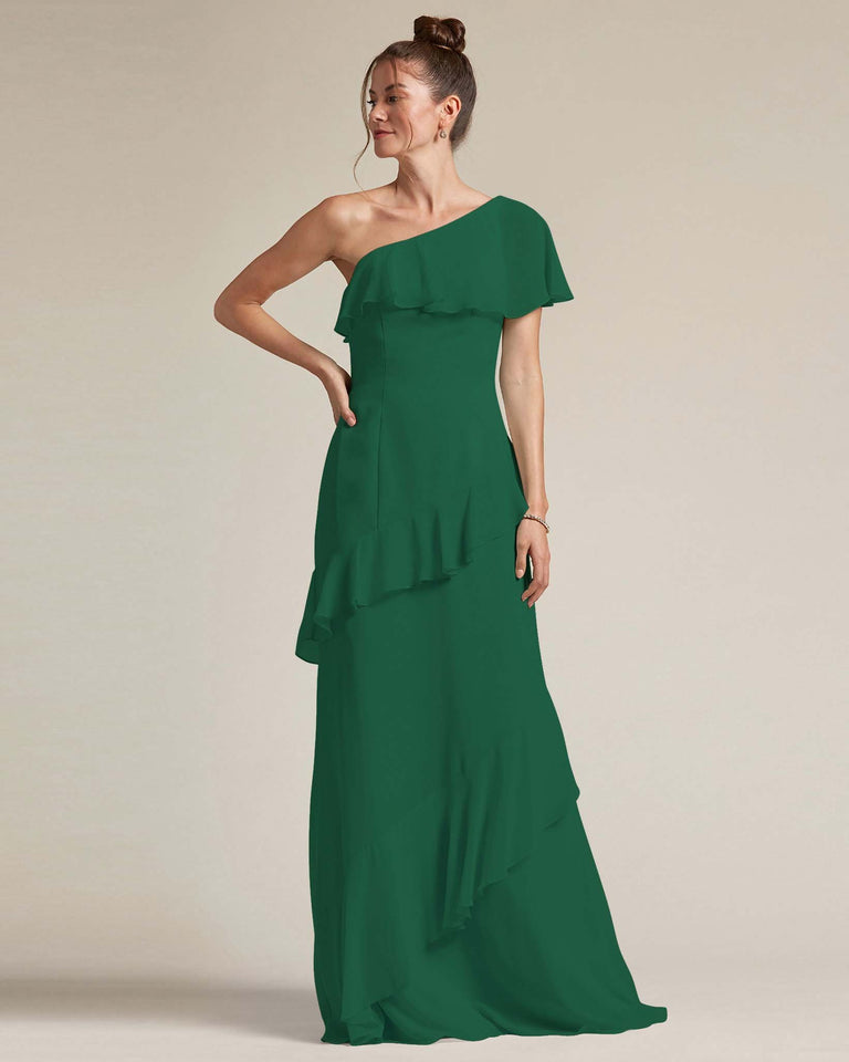 Dark Green Asymmetrical Flounder Top With A Multi-Layered Skirt Formal Gown