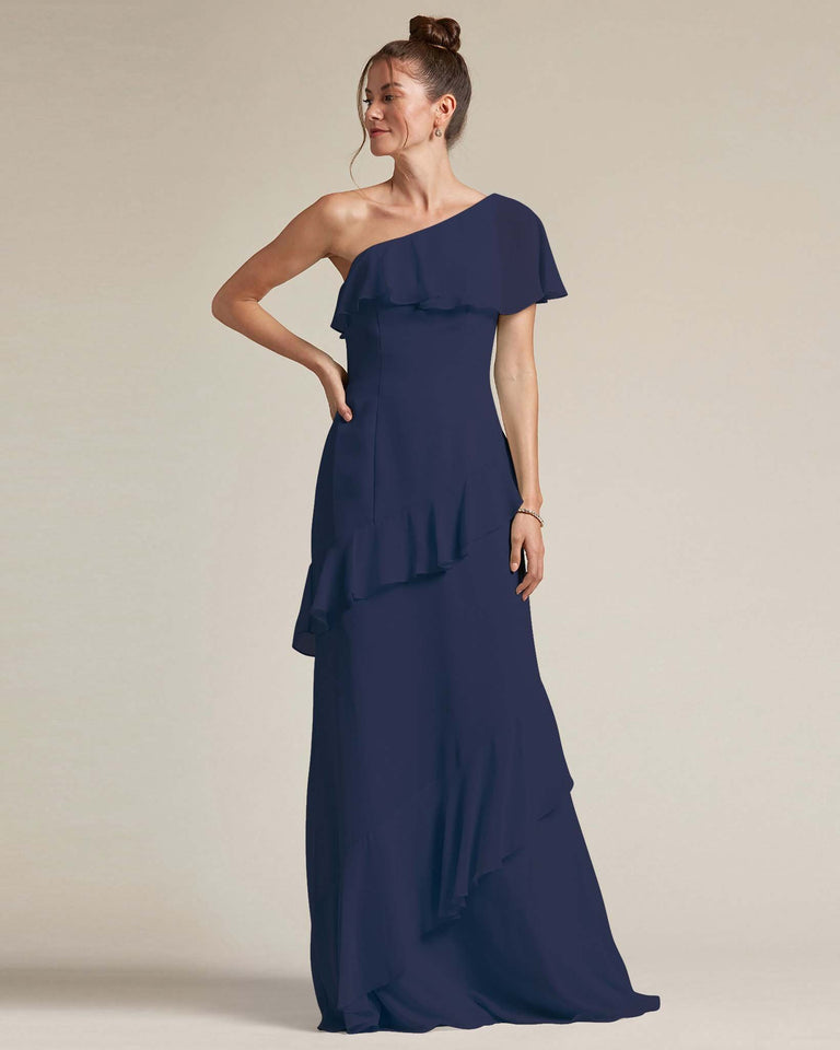 Dark Navy Asymmetrical Flounder Top With A Multi-Layered Skirt Formal Gown