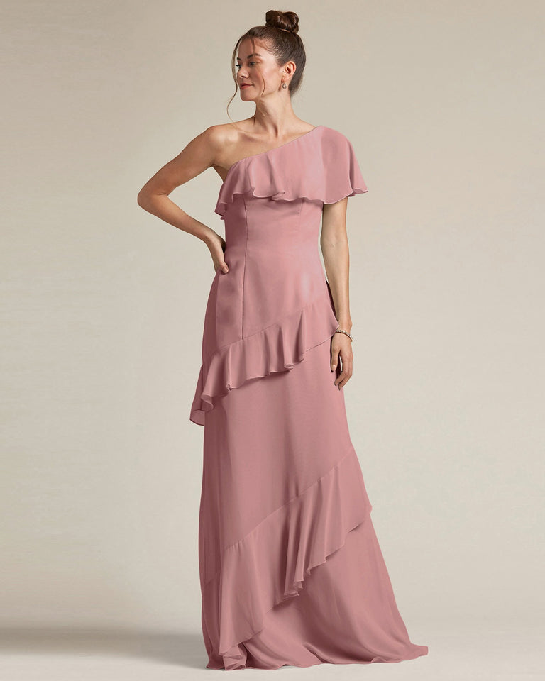 Dusty Rose Asymmetrical Flounder Top With A Multi-Layered Skirt Formal Gown