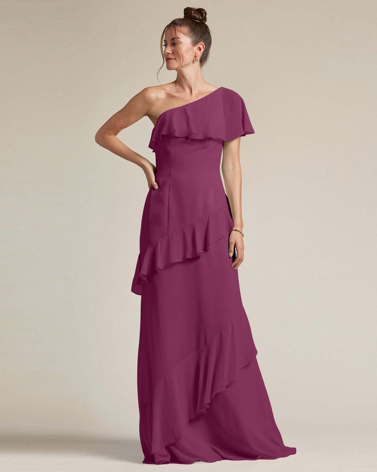 Grape Asymmetrical Flounder Top With A Multi-Layered Skirt Formal Gown