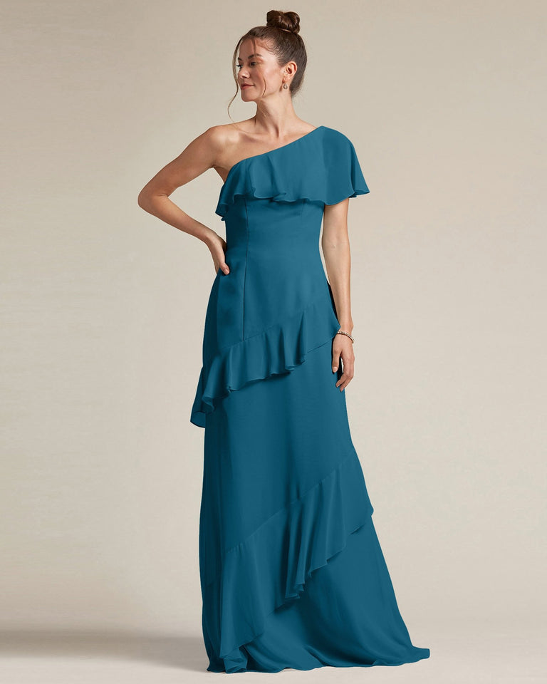 Ink Blue Asymmetrical Flounder Top With A Multi-Layered Skirt Formal Gown