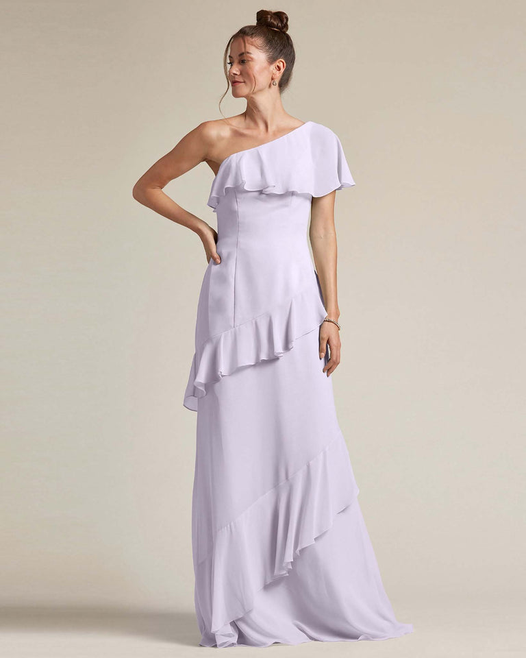 Lilac Asymmetrical Flounder Top With A Multi-Layered Skirt Formal Gown