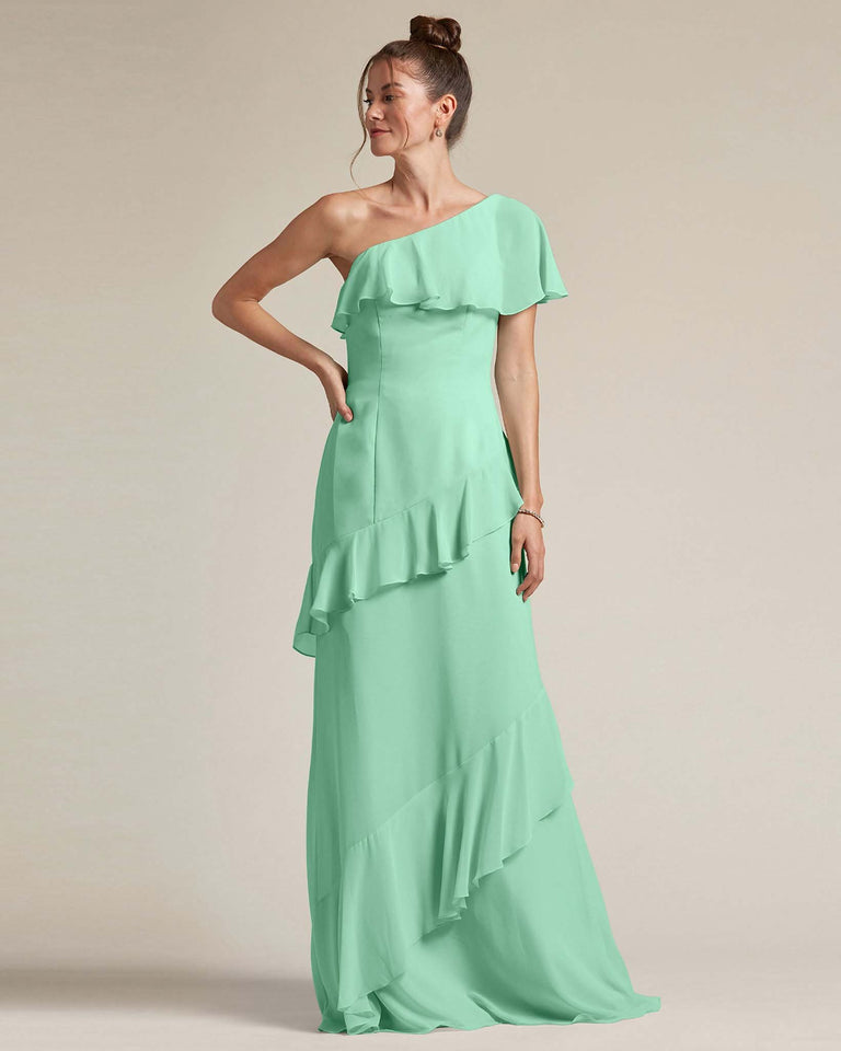 Mint Green Asymmetrical Flounder Top With A Multi-Layered Skirt Formal Gown