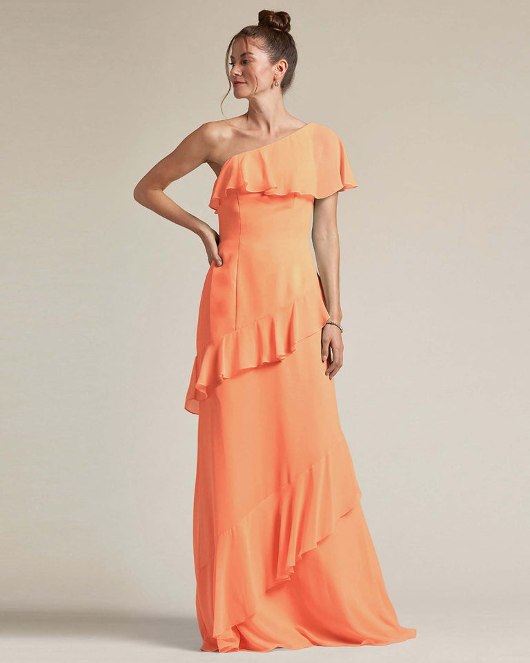 Papaya Asymmetrical Flounder Top With A Multi-Layered Skirt Formal Gown