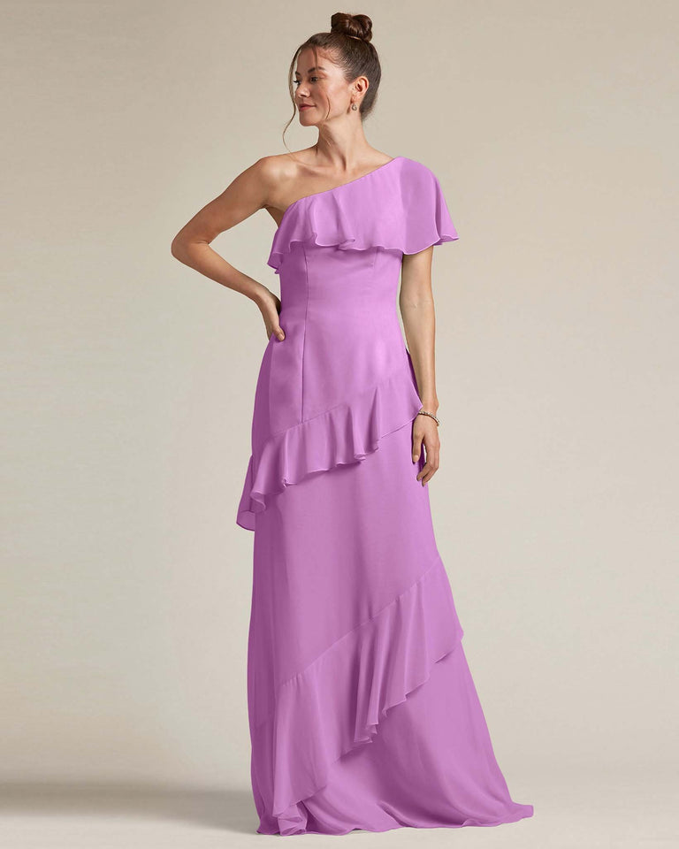 Purple Asymmetrical Flounder Top With A Multi-Layered Skirt Formal Gown