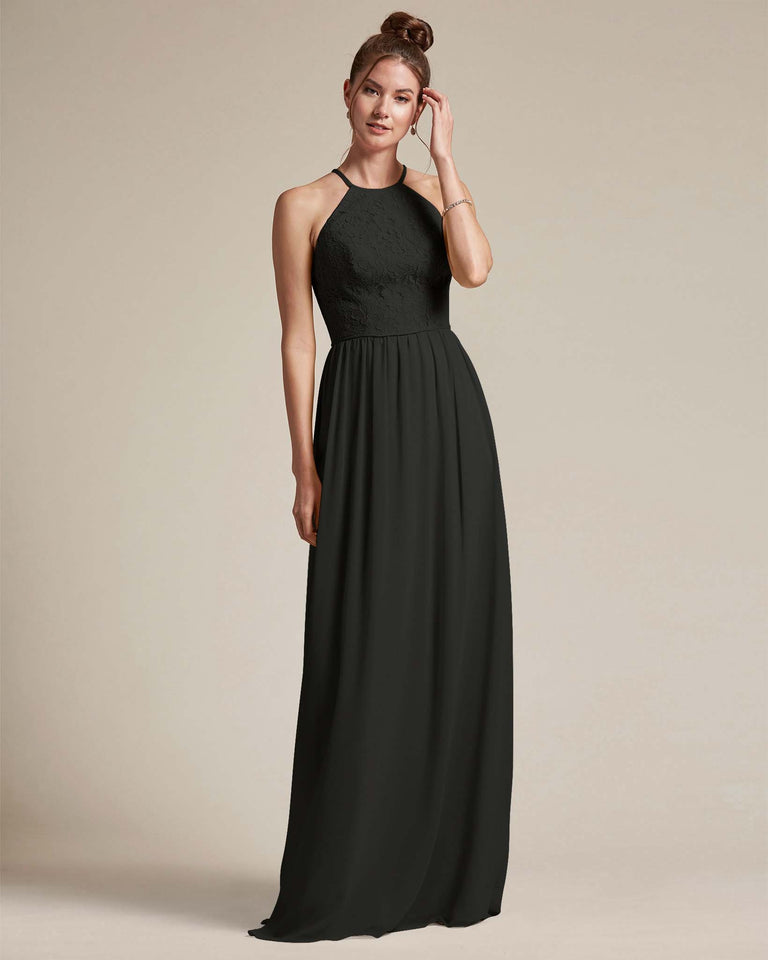 Black Embroidered Floral Bridesmaid Gown With Racerback Design