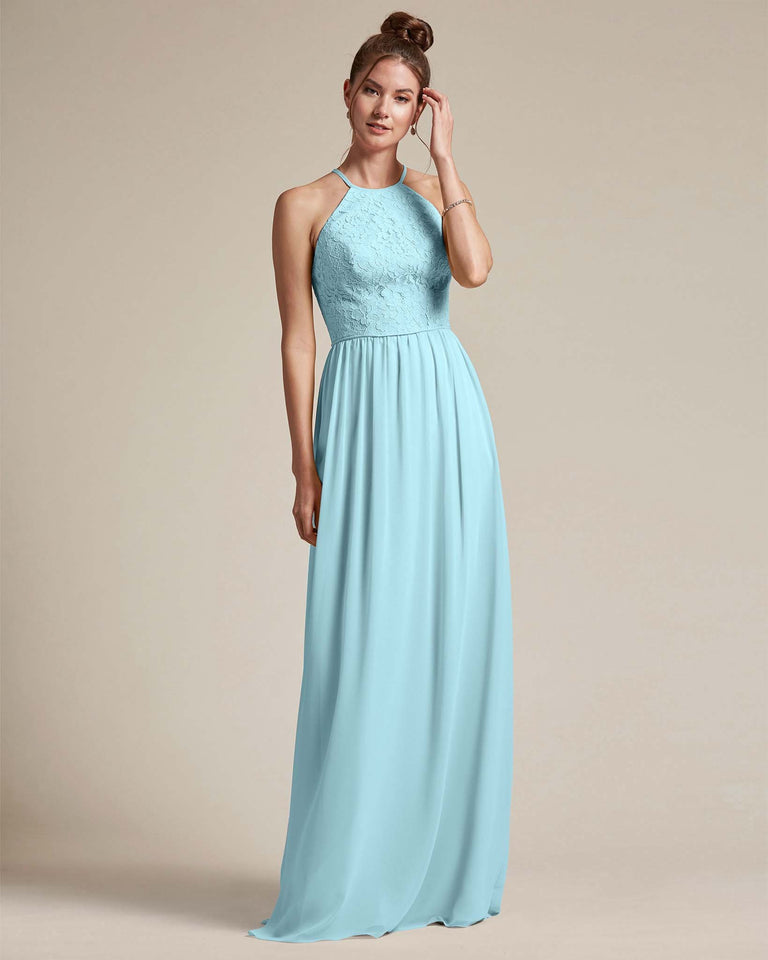 Blue Glow Embroidered Floral Bridesmaid Gown With Racerback Design