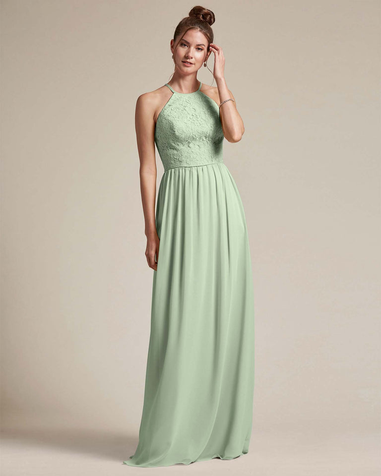 Celadon Embroidered Floral Bridesmaid Gown With Racerback Design
