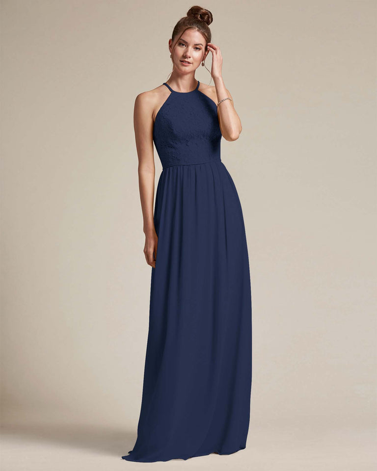 Dark Navy Embroidered Floral Bridesmaid Gown With Racerback Design