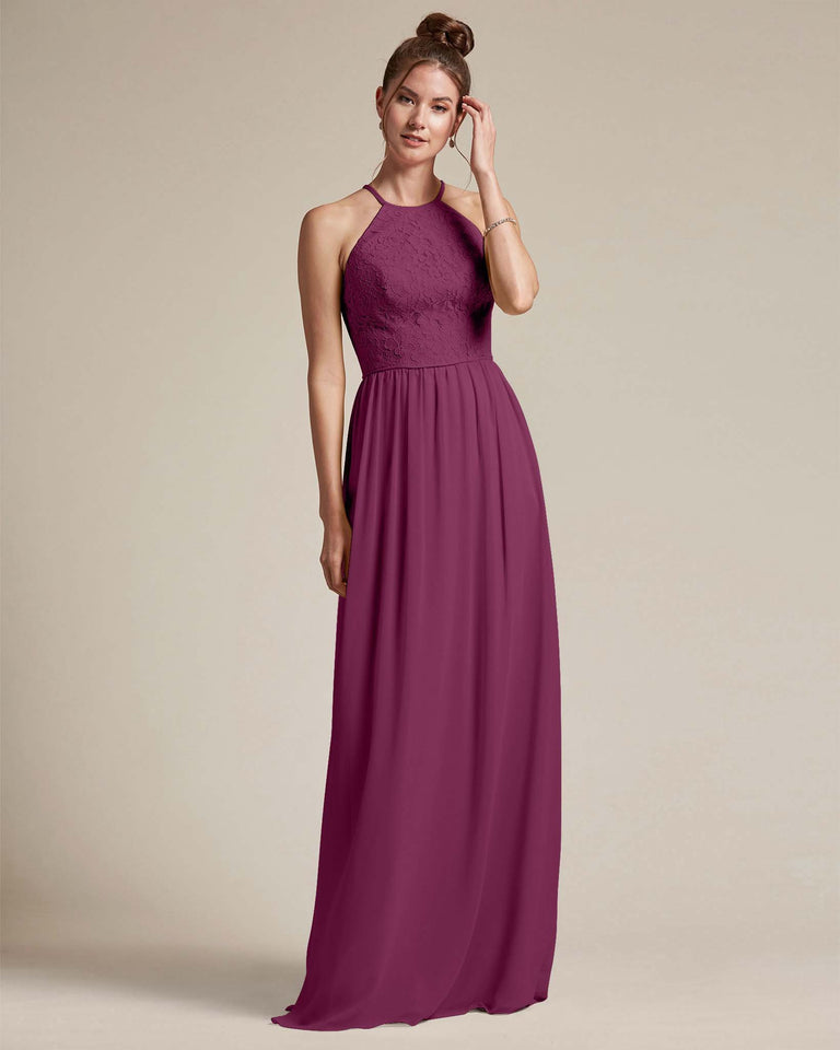 Grape Embroidered Floral Bridesmaid Gown With Racerback Design