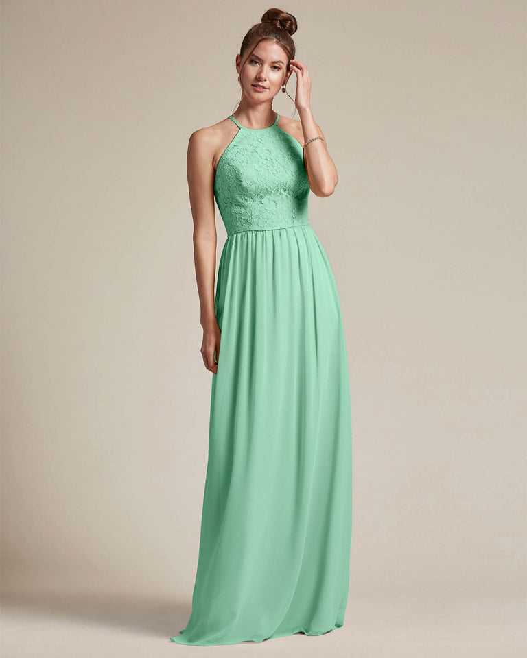 Mint Green Embroidered Floral Bridesmaid Gown With Racerback Design
