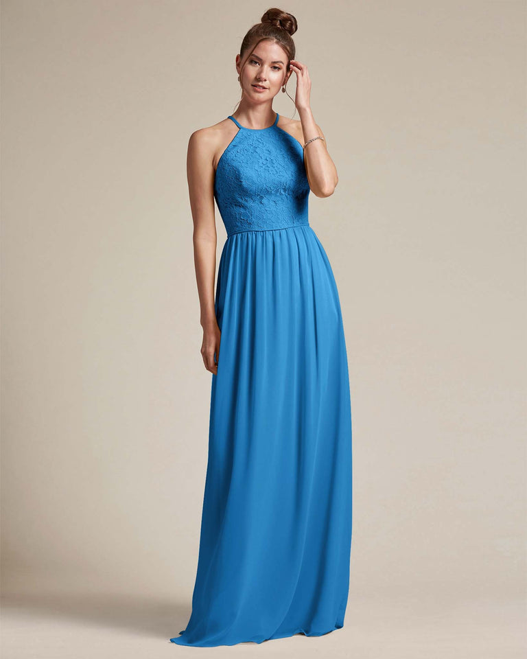 Ocean Blue Embroidered Floral Bridesmaid Gown With Racerback Design