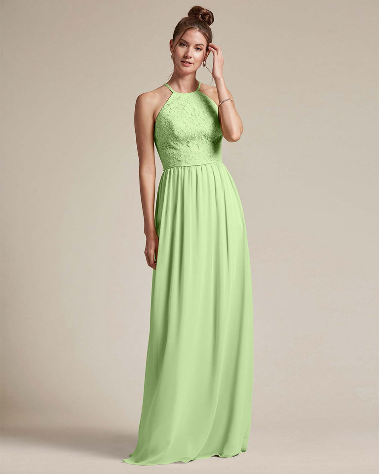 Paradise Sage Embroidered Floral Bridesmaid Gown With Racerback Design