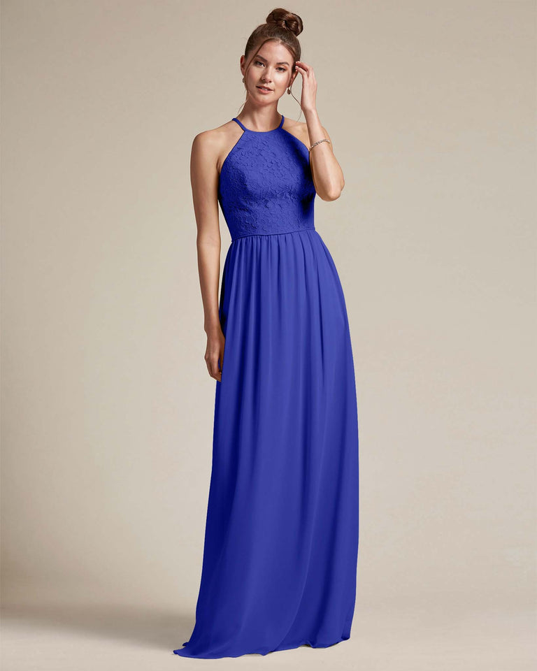 Royal Blue Embroidered Floral Bridesmaid Gown With Racerback Design