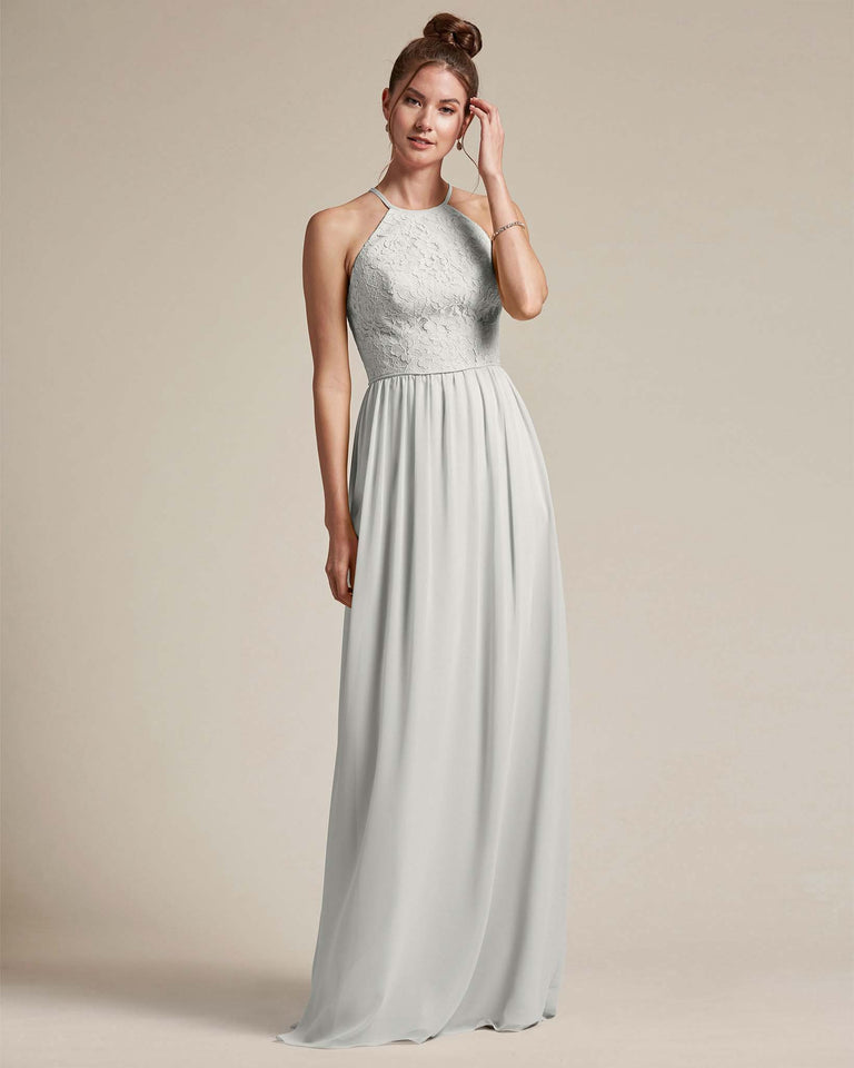 Silver Embroidered Floral Bridesmaid Gown With Racerback Design
