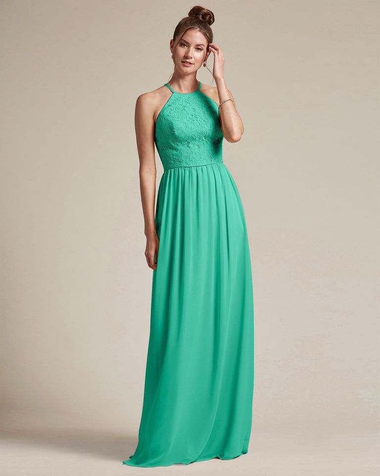 Turquoise Embroidered Floral Bridesmaid Gown With Racerback Design