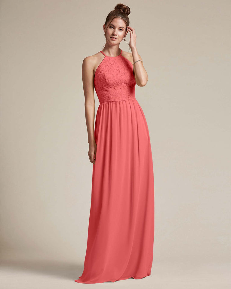 Watermelon Embroidered Floral Bridesmaid Gown With Racerback Design