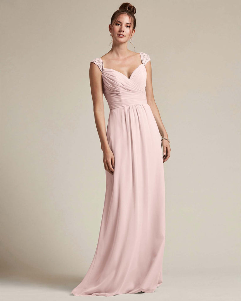 Blushing Pink Sweetheart Embroidered Top With Cut Out Back Design Bridesmaid Gown