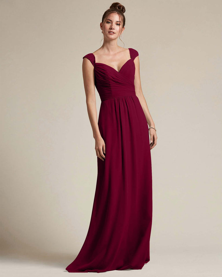 Burgundy Sweetheart Embroidered Top With Cut Out Back Design Bridesmaid Gown