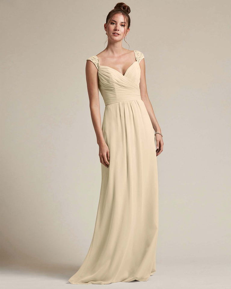 Champagne Sweetheart Embroidered Top With Cut Out Back Design Bridesmaid Gown
