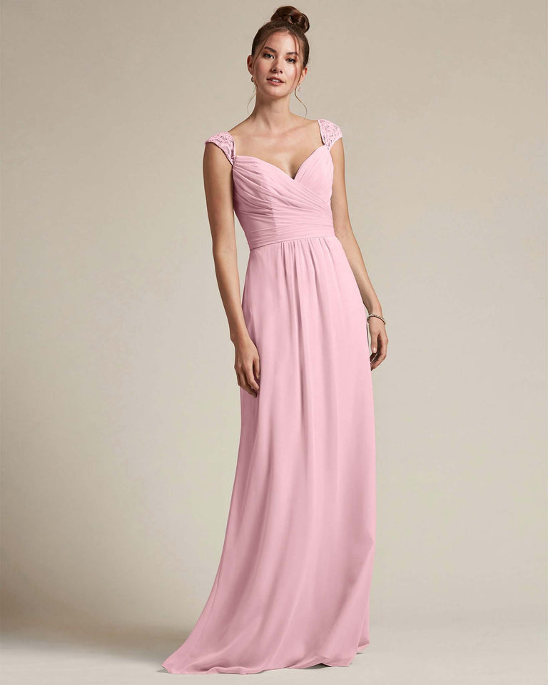 Cherry Blossom Sweetheart Embroidered Top With Cut Out Back Design Bridesmaid Gown