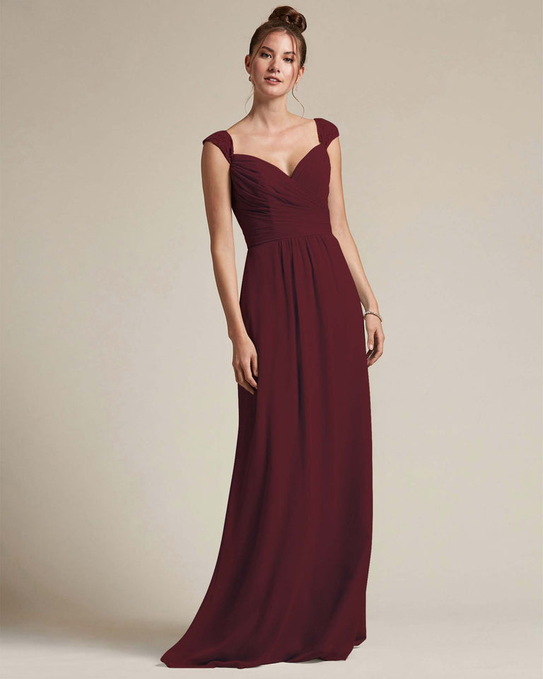 Claret Sweetheart Embroidered Top With Cut Out Back Design Bridesmaid Gown