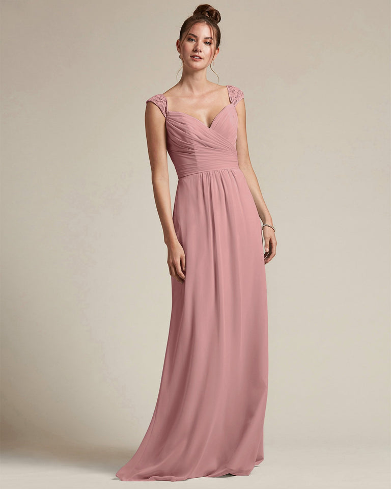 Dusty Rose Sweetheart Embroidered Top With Cut Out Back Design Bridesmaid Gown