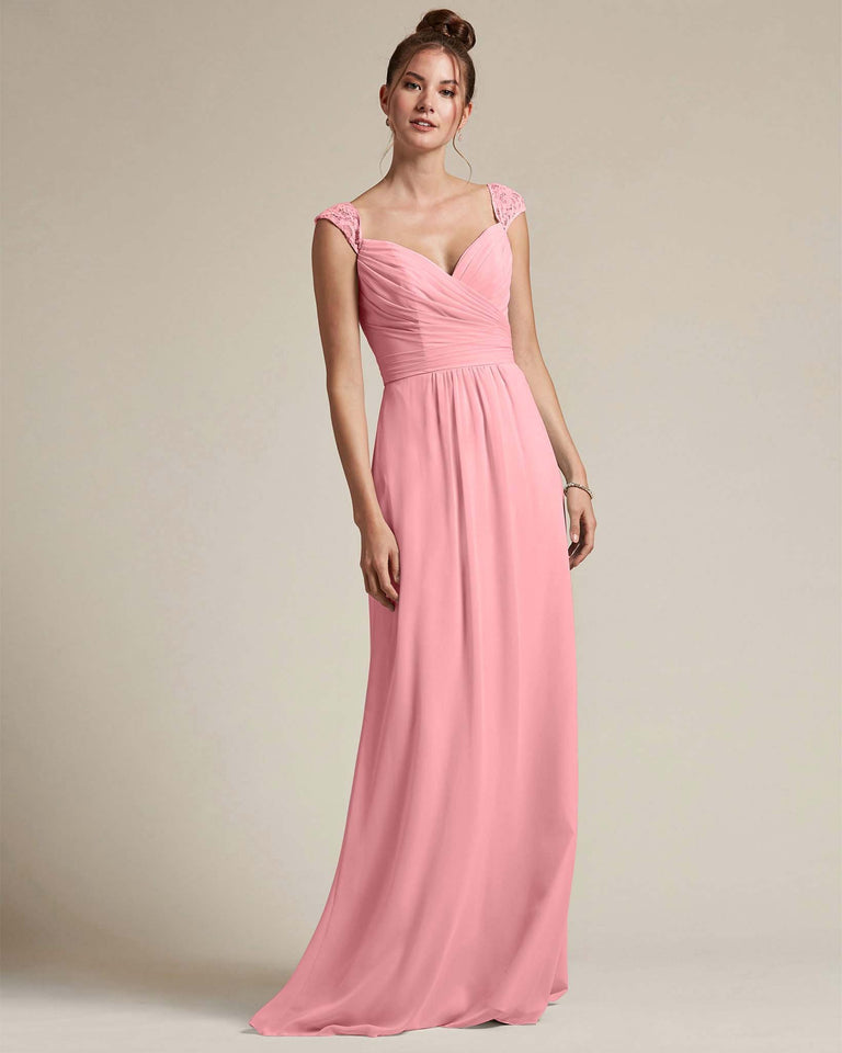 Flamingo Pink Sweetheart Embroidered Top With Cut Out Back Design Bridesmaid Gown